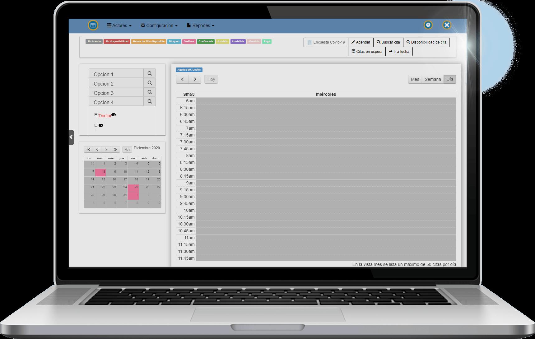 Módulo de agenda, HiMed Web Software de historias clínicas